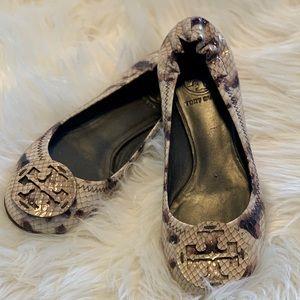 Tory Burch Reva-Monarch Snake Print Ballet Flats